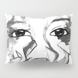 rainbow face oil reworked black white Pillow Sham
