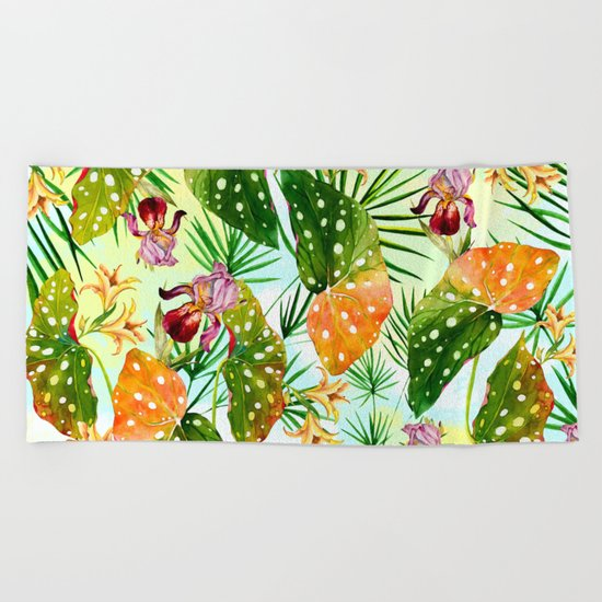 Tropical exotic pattern Beach Towel