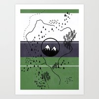middle earth Art Prints featuring Middle Earth by Cécile Pellerin