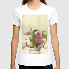 Pink English Roses in a silver Pot- Vintage Rose Stilllife Photography T-shirt