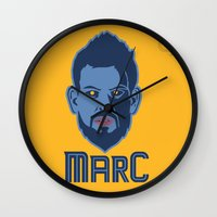 marc johns Wall Clocks featuring Marc Gasol by Ric_Hardwood