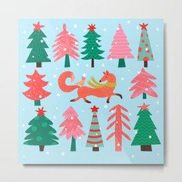 Fox And Bird In A Christmas Tree Winter Wonderland Metal Print