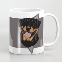 rottweiler Mugs featuring Rottweiler by Mickeyila Studios
