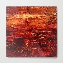 Rustic Textured Acrylic Painting on Wood Metal Print