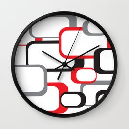 Red Black Gray Retro Square Pattern White Wall Clock