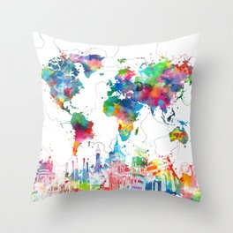 world map watercolor collage Throw Pillow