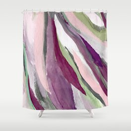 Blossom [3]: a pretty acrylic piece in greens, pinks, white, and purple. Simple minimal elegant Shower Curtain