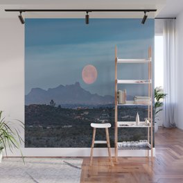 Moon Over Tucson - Full Moon Sets Early Morning in Tucson Arizona Wall Mural