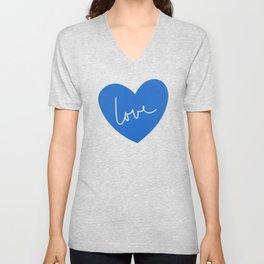 Loving heart - blue Unisex V-Neck