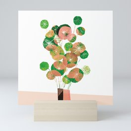 Printed Pilea Flowers in Coral and Green Mini Art Print