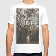 Get Lost Mens Fitted Tee White MEDIUM