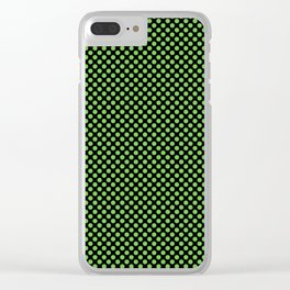 Black and Green Flash Polka Dots Clear iPhone Case
