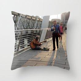 Hungerford Bridge Busker Throw Pillow
