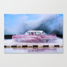 Waves and Classic Cars of the Malecón - 9 Canvas Print