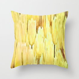 Pale Yellow Tulips Abstract Floral Pattern Throw Pillow