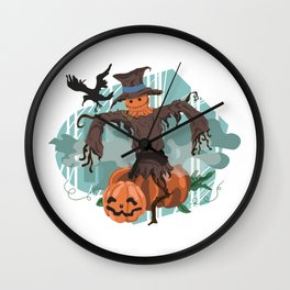 Fall Scarecrow Outstanding in his Field Wall Clock