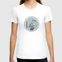 architect T-shirts featuring Architect Draftsman Circle Retro  by patrimonio