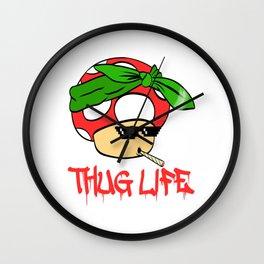 "A Cool Thug Life Tee For Gangster ""Mushroom Thug Life"" T-shirt Design Scarf Smoking Cigarette Smoke Wall Clock"
