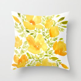 Watercolor California poppies (Quad set, #2) Throw Pillow
