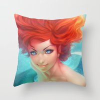 under the sea Throw Pillows featuring Under The Sea by Artgerm™