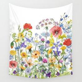 Colorful Midsummer Scandinavian Wildflowers Meadow  Wall Tapestry