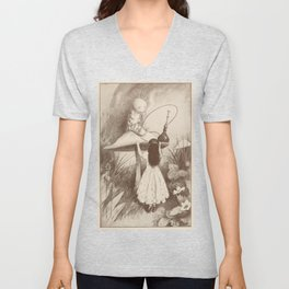 Alice in Wonderland With the Caterpillar Unisex V-Neck