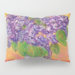 Bouquet of lilac flowers in a glass vase on an orange background Pillow Sham