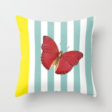 Coral butterfly Throw Pillow