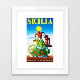 Vintage Sicilia Italia - Sicily Italy Travel Framed Art Print