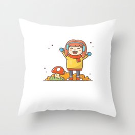 Happy kids character playing in autumn season2 Throw Pillow