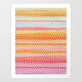 Dots on Watercolor Stripes Art Print