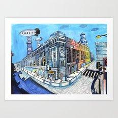 Palace on Blue Street Art Print