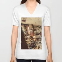 kitchen V-neck T-shirts featuring Chaotic Kitchen by Shaun Lowe
