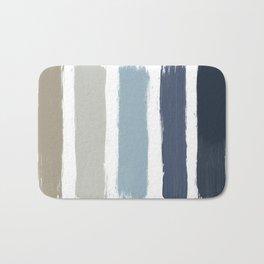 Blue & Taupe Stripes Bath Mat
