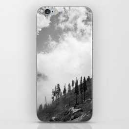 Mountains, Valleys and Forests. Yosemite National Park, Black and White Photography, Clouds and Fog iPhone Skin