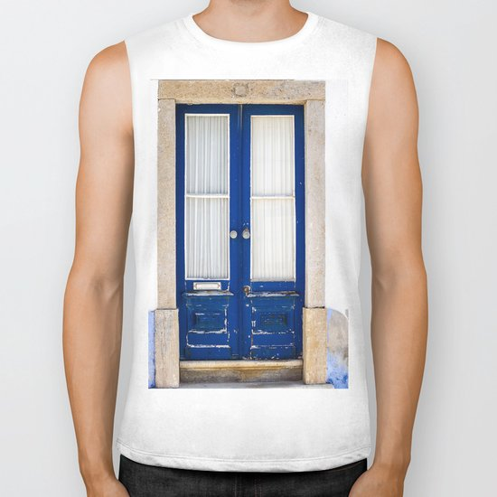 Door Ericeira Portugal blue Biker Tank