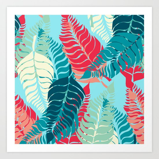 Leave Me Layered (Aqua Red) Art Print