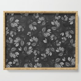 Black and White Leaves Pattern #1 Serving Tray