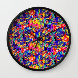 Psychedelic Roses Wall Clock