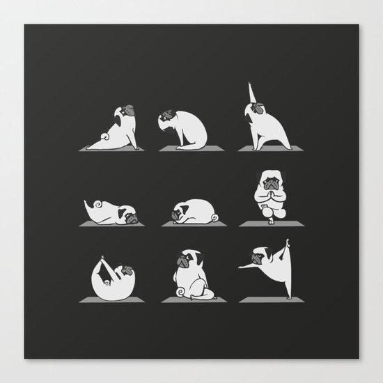 Pug Yoga B&W Canvas Print