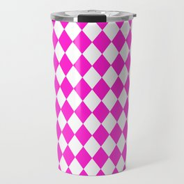Diamonds (Hot Magenta/White) Travel Mug