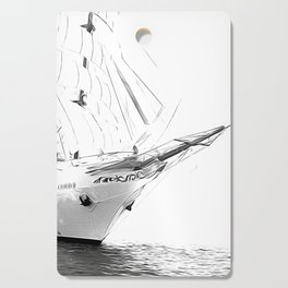 Black and White Sailboat Cutting Board