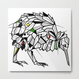 Kiwi Bird Geometric Metal Print