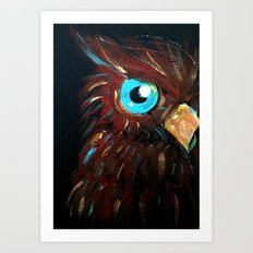 Teal and Gold Owl Art Print
