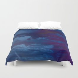 Clouds in a Stormy Blue Midnight Sky Duvet Cover