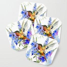 Alen's Hummingbird and Blue Flowers, floral bird design birds, watercolor floral bird art Coaster