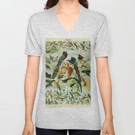 """Adolphe Millot """"Oiseaux"""" Tropical Birds Nouveau Larousse 1905 Unisex V-Neck"""