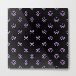 Purple Pentacle Pattern on Black Metal Print