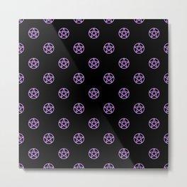 Purple Pentacle Pattern on Black Metal Print
