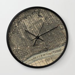 Vintage Map of Detroit Michigan (1904) Wall Clock